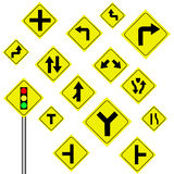 Предупредительный знак движения на белой предпосылке Стоковое Фото