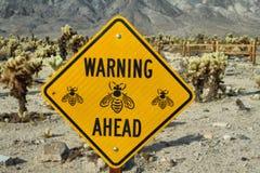 Предупредительный знак внутри в национальном парке дерева Иешуа Стоковые Изображения RF