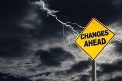 Предупредительный знак изменений вперед в сокрушительной предпосылке Стоковая Фотография RF