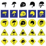 Предупредительный знак использования разнообразия шлема Стоковые Изображения RF