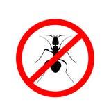 Предупредительный знак муравья, никакие муравьи - vector иллюстрация Стоковое Изображение RF