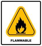 Предупредительный знак огня в желтом треугольнике Высокие огнеопасные материалы Стоковое Изображение RF