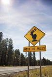Предупредительный знак дороги оленей, США Стоковая Фотография RF
