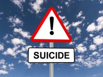 Предупредительный знак суицида Стоковые Фотографии RF