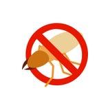 Предупредительный знак с значком рогача жука иллюстрация штока