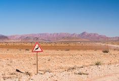 Предупредительный знак с символом газеля в Намибии Стоковая Фотография RF
