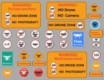 Предупредительный знак трутня Комплект вектора различного предупреждения Стоковая Фотография
