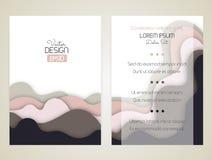 Предусматривайте дизайн с изогнутыми формами как волна или холм Брошюра, рогулька, приглашение или сертификат Материальный дизайн стоковое фото