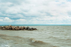 предыдущее лето берега утра озера Стоковые Фото