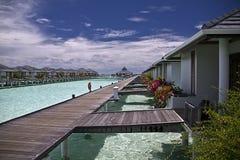 Предыдущее солнечное утро на Мальдивах стоковая фотография rf