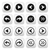 Предыдущие, следующие установленные кнопки стрелок Стоковое Фото