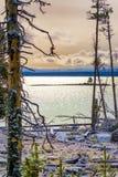 Предыдущий снежок падения на озере Йеллоустон Стоковое Изображение