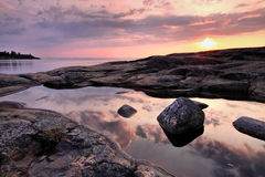 прибалтийский заход солнца моря Финляндии Стоковое фото RF