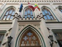 Прибалтийские флаги страны на здании Nouveau искусства Стоковая Фотография RF
