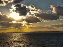 прибалтийский заход солнца стоковые изображения rf