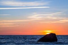 прибалтийский заход солнца Стоковое Изображение