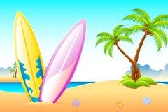прибой моря доски пляжа иллюстрация вектора