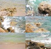 Прибой моря на утесы и спокойная вода моря - Стоковые Фотографии RF