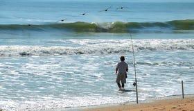 прибой рыболова Стоковая Фотография