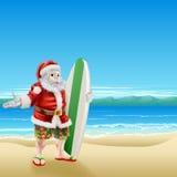 Прибой Санта на пляже Стоковое фото RF