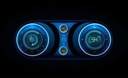 приборная панель автомобиля HUD Абстрактный виртуальный графический пользовательский интерфейс касания Футуристический пользовате Стоковые Изображения