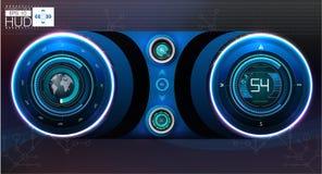 приборная панель автомобиля HUD Абстрактный виртуальный графический пользовательский интерфейс касания Футуристический пользовате Стоковые Изображения RF