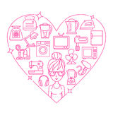 Приборы и сердце рамки женщины Стоковое фото RF