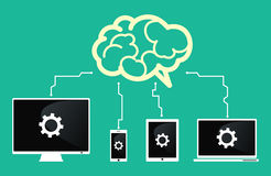 Приборы соединяются к мозгу Связь приборов вектор технологии связи изолированный иллюстрацией также вектор иллюстрации притяжки c Стоковое Изображение