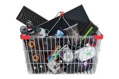 Прибор и аксессуары компьютера внутри корзины для товаров, перевода 3D изолированного на белой предпосылке бесплатная иллюстрация