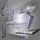 Прибор и женщина фитнеса EMS Стоковые Фотографии RF
