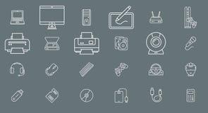 Прибор электроники компьютера - план вектора значков установленный на сеть или чернь 01 иллюстрация штока