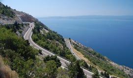 прибрежная дорога Хорватии разделенная к стоковая фотография