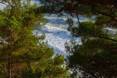 Прибрежные волны моря бьют против берега Стоковые Изображения RF