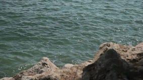 Прибрежные утесы и прибой моря Испанские пляжи в en Бланесе ` Косты d Мальорка акции видеоматериалы