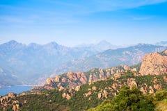 Прибрежный ландшафт горы Корсики, Франции стоковая фотография