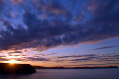 прибрежный заход солнца Стоковые Фото