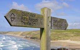 прибрежный cornish знак perranporth footpath Стоковые Фотографии RF