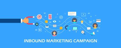Прибывающая маркетинговая кампания для новых привлекательности клиента и концепции удерживания Плоское знамя вектора дизайна Стоковое Фото