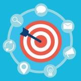 Прибывающий маркетинг Цель с инструментами стрелки и значков иллюстрация штока