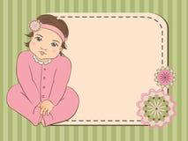 прибытие объявления как шаблон девушки карточки младенца совершенный Стоковое фото RF