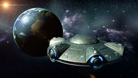 Прибытие UFO иллюстрация вектора