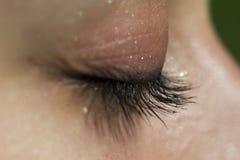 Приближение закрытого глаза Стоковые Изображения RF