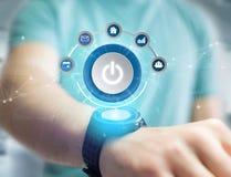 Приведите символ в действие кнопки при компьютер app показанный на футуристическом Стоковое Изображение RF