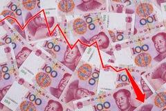 Привейте показывать спад китайских юаней Стоковые Изображения RF