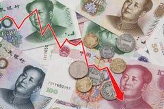 Привейте показывать спад китайских юаней Стоковое Изображение RF