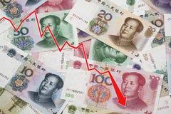Привейте показывать спад китайских юаней Стоковое Фото