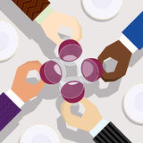 Приветственные восклицания для празднуют сотрудничество успеха иллюстрация штока