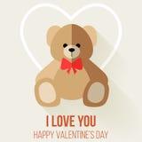 Приветствие влюбленности дня валентинки романтичное с плюшевым медвежонком иллюстрация штока