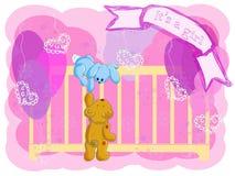 приветствие девушки карточки рождения Стоковое фото RF