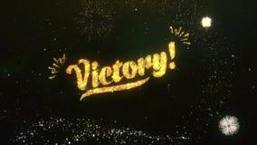 Приветствие и желания победы сделанные от ночи неба фейерверка частиц бенгальских огней сток-видео